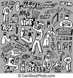 rap,hip hop ,graffiti - doodles set