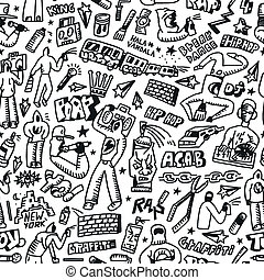 rap,hip hop ,graffiti - seamless background with icons in...