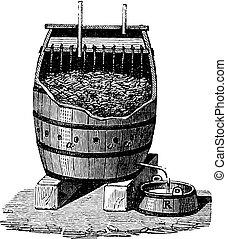Rapid Acetification of Vinegar in a Schuzenbach Barrel, vintage engraving
