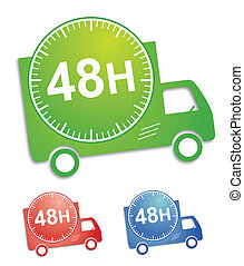 Sticker or button for delivery service; with 3 colors for illustration
