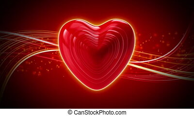 Rapid heart rate on an abstract background. Valentine's Day background.