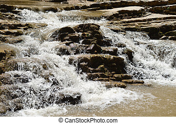 Rapid mountain stream close-up