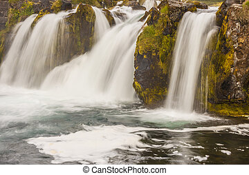 Rapid river and waterfall - Iceland, Westfjords.