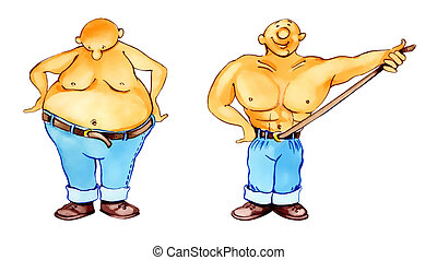 rapid slimming - humorous illustration of man and wonder...