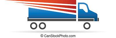 rapidamente, caminhão, imagem, logotipo
