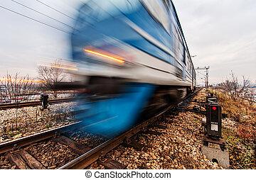 rapidamente, em movimento, trem