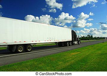 rapidamente, movendo caminhão