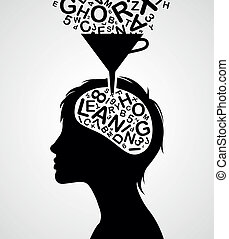 rapidamente, silueta, aprendizagem
