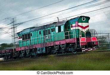 rapidamente, trem carga