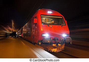 rapidamente, trem, com, borrão moção