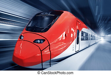 rapidamente, trem, movimento
