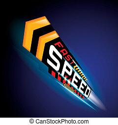 rapidamente, velocidade, conceito, vetorial