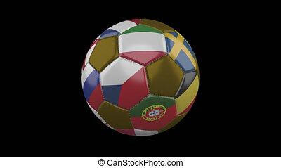 rapidement, alpha, drapeaux, tourner, transparent, euro, fond, boule football, boucle