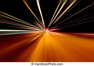 rapido, corsa, di, notte, strada