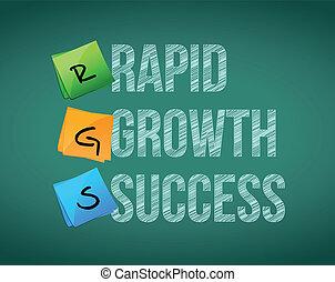 rapido, crescita, successo, illustrazione, segno