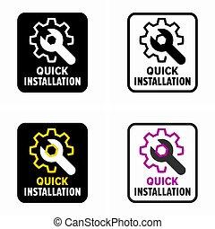 rapido, o, simbolo, riparazione, installazione