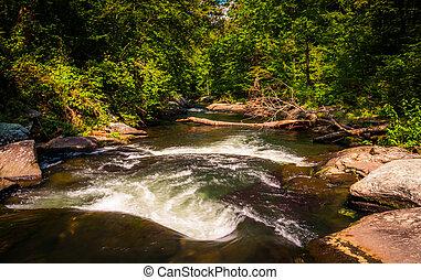 Rapids along Gunpowder Falls, in Baltimore County, Maryland.