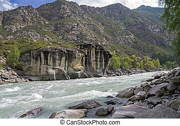 "Rapids ""Atlantes"" on Argut river. Altai Mountains, Russia."