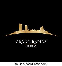 rapids, fondo negro, michigan, contorno, ciudad, magnífico, ...