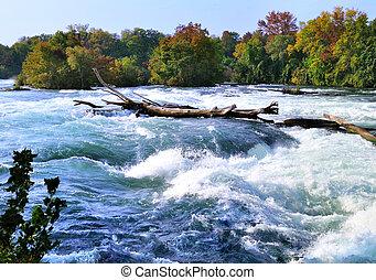 rapids, río, montaña, otoño