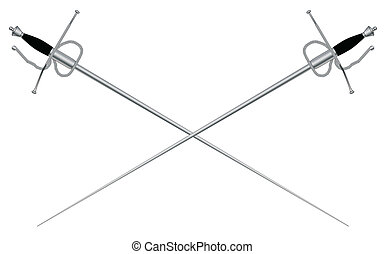 A rapier or fencing foil as used in traditional sword duals all isolated on a white background