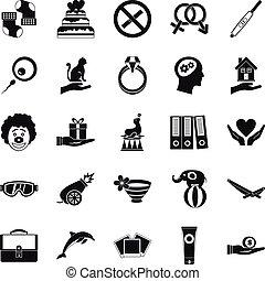 rapimento, set, stile, icone semplici