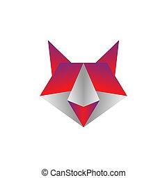 raposa, origami, coloridos, vetorial, ilustração, desenho, modelo