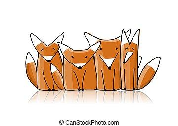 raposas, família, esboço, para, seu, desenho