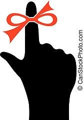 rappel, doigt, icône