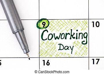 rappel, jour, pen., coworking, calendrier