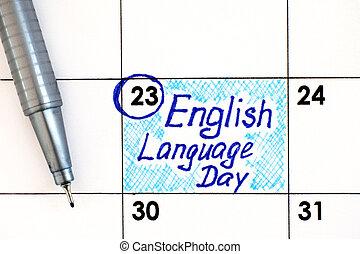 rappel, langue, calendrier, anglaise, stylo, jour