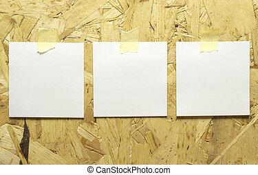 rappel, papier, bande, cadres, bois, 3, wall., textured, adhésif, collé, vide