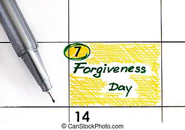rappel, pen., pardon, jour, calendrier