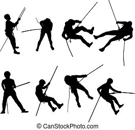 rappel, silhouettes