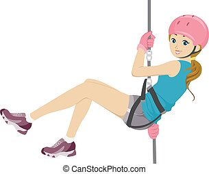 Rappelling Girl - Illustration Featuring a Girl Rappelling...