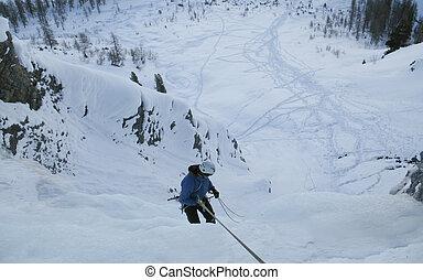 rappelling, grimpeur, glace