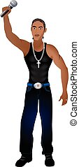 Rapper 2 - Vector Illustration of a rapper, singer, or...