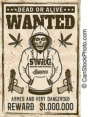 Rapper gangster skull in hoodie wanted poster