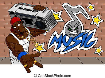 Rapper - Illustration of rapper bearing a 80s radio on his...