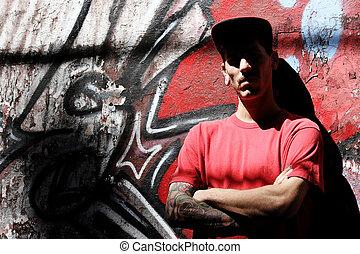 rapper, inclinar-se, um, parede