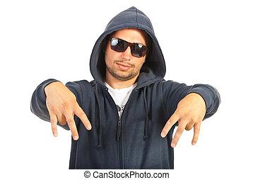 Rapper man gesturing - Hooded rapper man gesture with his...