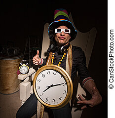 Rapper with Large Clock - Funny white rapper with multi...