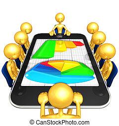 rapport, écran, réunion, business
