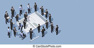 rapport, analyser, financier, equipe affaires