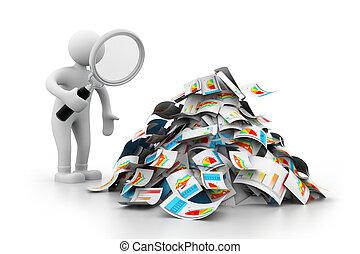 rapport, analysering, affärsman