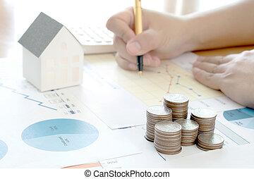 rapport, analyzing, concept, financieel, samenvatting