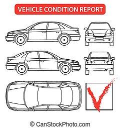 rapport, auto, voorwaarde, (car, controleren