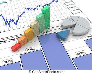 rapport, bar, 3d, financieel, voortgang
