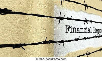 rapport, barbwire, financieel, tegen