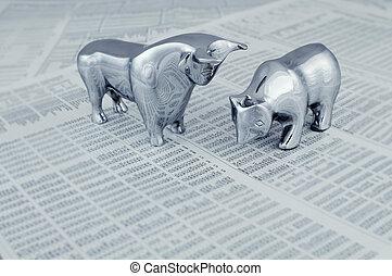 rapport, bourse, ours, taureau